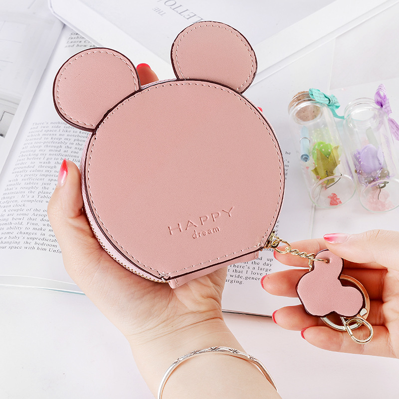 2019 Women Coin Purse Mickey Mini Key Holder Change Purse For Girls Pu Leather Zipper Small Coin Storage Bag Ladies Money Bag
