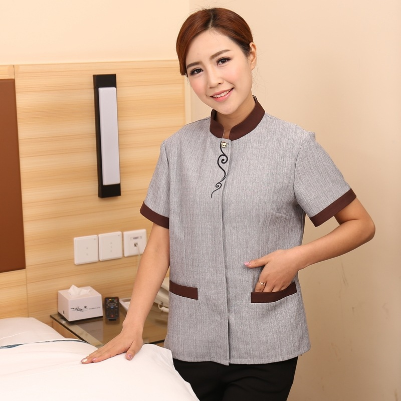 Cleaners Work Clothes Women Short Sleeve Summer Property Hotel Room Aunt Cleaning Housekeeping Uniform Plus Size Jacket H2473