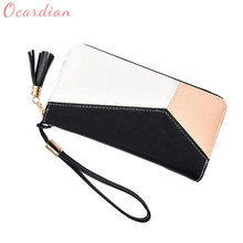 2018 New Fashion Women Fahion Tassel Patchwork Long Wallet Coin Purse Card Holders Suit all style of clothes Best gifts C0126(China)