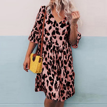 Maternity Dress Women Pregnant Nursing V-Neck Leopard Print Sexy Gown Evening Party Lady Casual Dress Pregnancy Dress Clothes