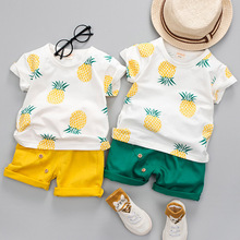 Baby Boys Girls Summer Clothes Sets Pineapple Cotton Printed Fruit Sports Suit For Boy T-Shirt + Shorts Children's Clothing
