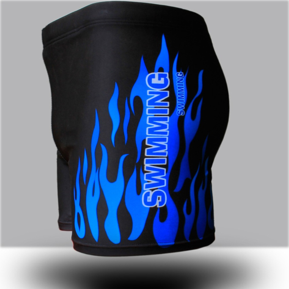 Flame Pattern Men Male Swimming Swimwear Boxer Shorts Bathing Suit Trunks Swim Black Blue Beach Wear Briefs Swimsuit Beachwear 4