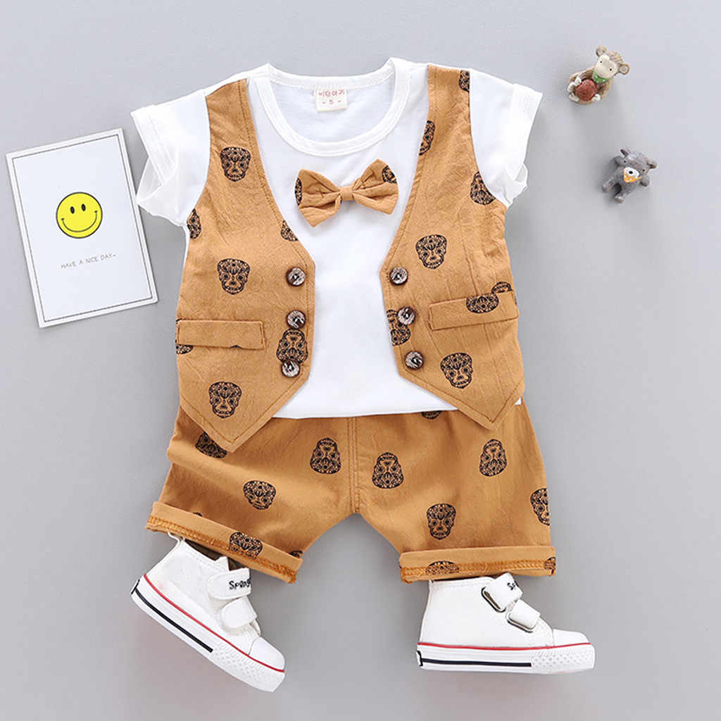 Infant Baby Boys Summer Gentleman Print Short Sleeve Bow Shirt+Shorts Pants Sets summer baby clothes