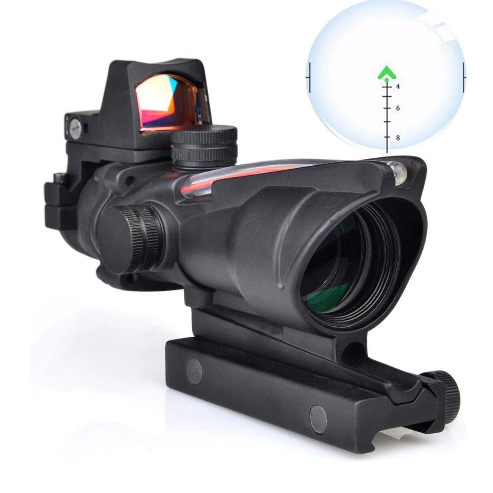 WIPSON ACOG 4X32 Optic Scope Riflescope CAHEVRON Reticle Fiber Red Illuminated Optic Sight With RMR Mini Red Dot Sight 20mm Rail hunting 4 x 32 compact rifle scope fiber sight red dot scope with fiber optic sight for 20mm rail ulitity