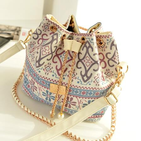 Handbags Canvas Bag Pearl Pendant Wearing Rope Chain Shoulder Bag National Wind Bucket Bag
