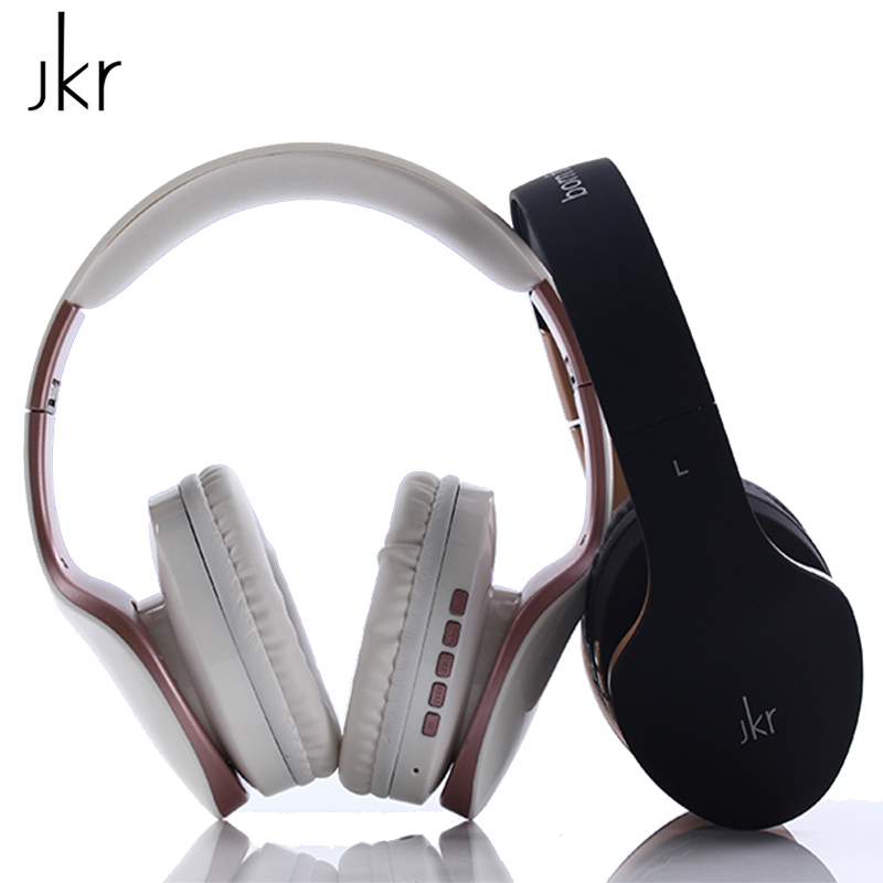 New JKR 102B Bluetooth Headphone Wireless Headset Stereo Music With Microphone Support TF Card FM Radio AUX Bluetooth Earphones