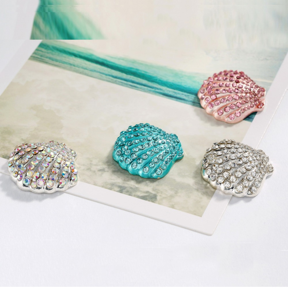 Buttons Free shipping diamond painting 28 25mm 10PCS flat back seashell rhinestone button embellishment can mix colors BTN 5698 in Buttons from Home Garden