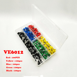 500 sztuk VE6012 czerwony  żółty  niebieski  zielony i czarny europa zacisków typu igły terminal typu rury terminal