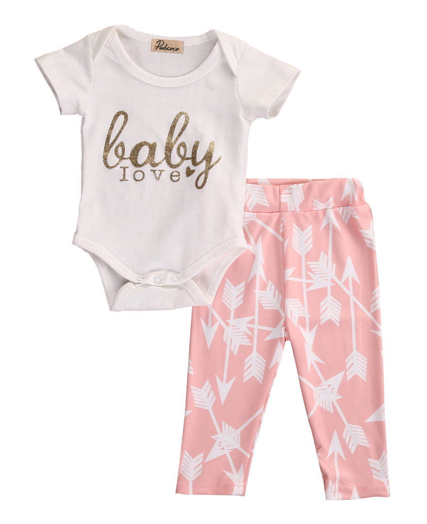 2pcs!!2016 Newborn Girls Long Sleeve Golden Letters Tops Rompers + Arrow Pink Pants Leggings Autumn Baby Outfits Set Clothes