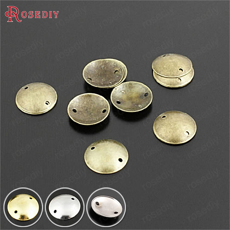 (28991)200PCS 8MM 10MM Antique Bronze Brass 2 Hole Arcuated Round Disk Diy Jewelry Findings Accessories Wholesale