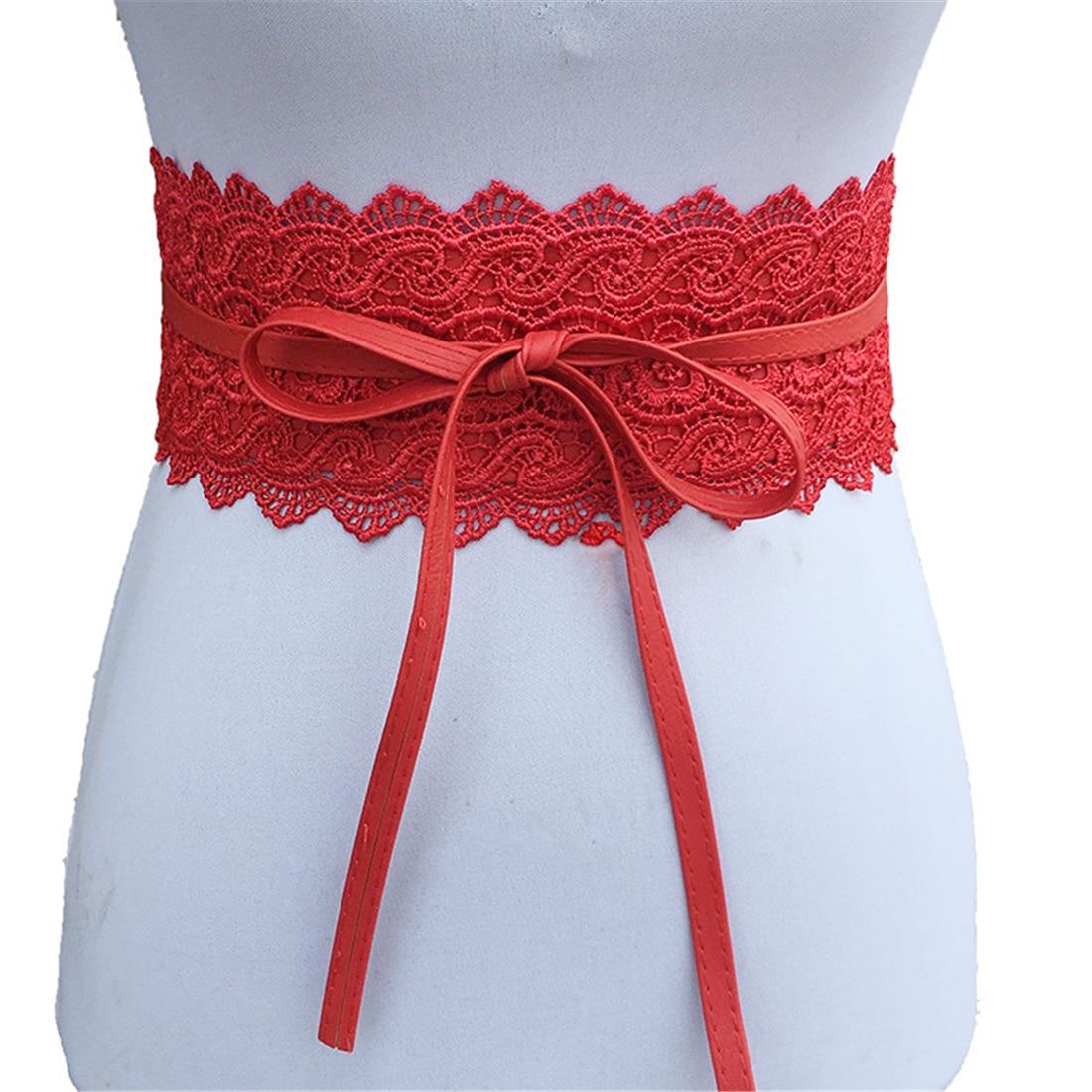 Fashion Waist Cincher Women Dress Bowknot Waist Band Faux Leather Lace Wide Decor Belt Girdle Waist Band Bandage Red White Black