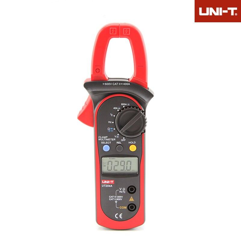 Digital Clamp Meter Voltage AC DC Temperature Capacitor 600A Current Diode Auto Range Multimeter UNI-T UT204A  vc6056d digital ac dc clamp meter 600a refrigerant special