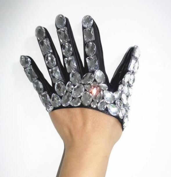 New fashion women's half palm Rhinestone gloves women's pu leather hip-hop performance dance gloves R212
