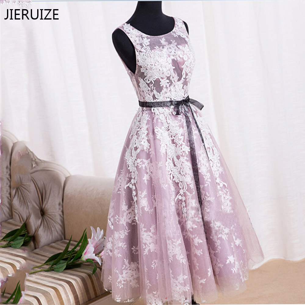 JIERUIZE White Lace Purple Backless   Cocktail     Dresses   2016 Cheap Short Prom Party   Dresses   Real   Dress   vestidos de coctel