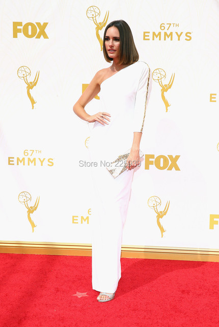 af6cce5fb957 Simple And Elegant Louise Roe Gowns Scoop One Three Quarter Sleeve Full  Length Mermaid Long White Celebrity Red Carpet Dresses