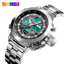 SKMEI Luxury Mens Quartz Digital Watch Sport Watches Waterproof Male Wristwatch 2 Time Chronograph Clock Relogio Masculino 1515