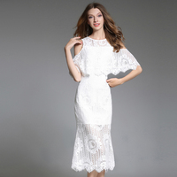 new 2018 Hollow out sexy lace dress off the shoulder white dresses with batwing cape vestidos European fashion S XXL high quali