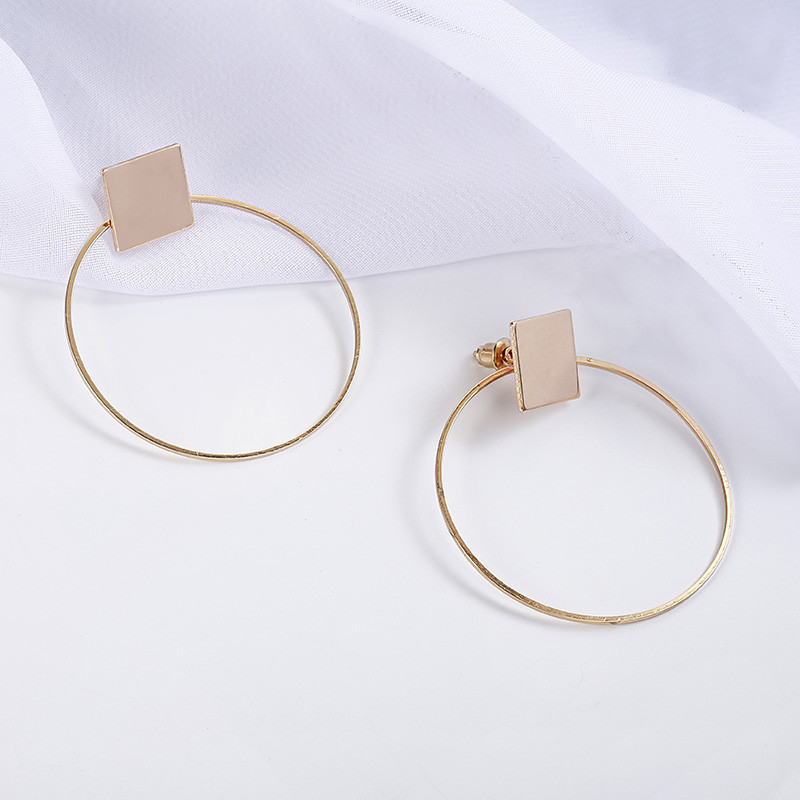 Simple Style Fashion Silver Gold Color Earrings for Women Square Round Geometric Hanging Earrings 18 Female Pendientes Jewelry 15