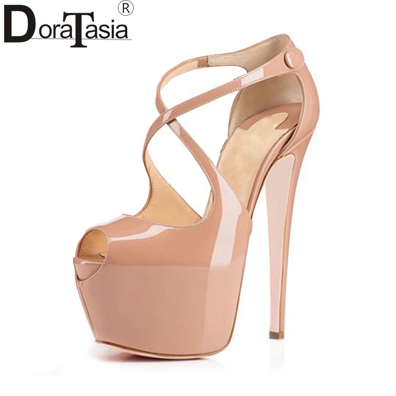 DoraTasia large size 34-45 brand shoes women sexy peep toe thin high heels sandals platform party wedding shoes lady footwear cdts 35 45 46 summer zapatos mujer peep toe sandals 15cm thin high heels flowers crystal platform sexy woman shoes wedding pumps