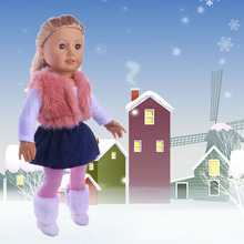 T03-X0050 Best gift Clothes for 18 inch Dolls American Girl Doll outdoor winter shirt vest dress leggging 4pcs/set