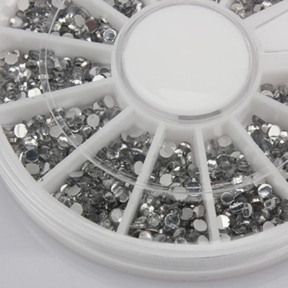Hot sale 1500 Pcs Nails Art Decoration Transparent Wheel 1.5mm Glitter Nail Tips Crystal