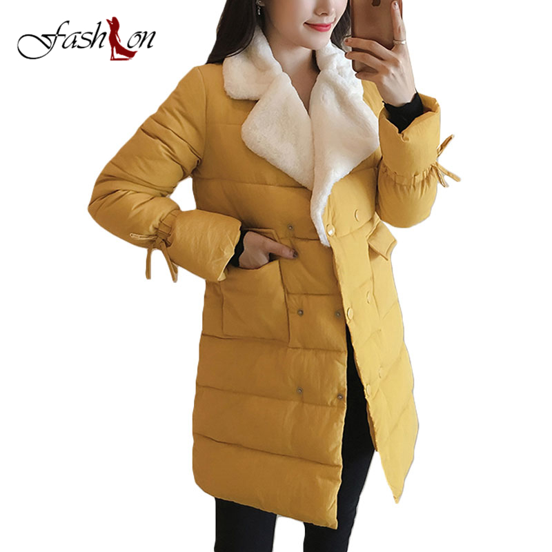 New 2017 Winter Coat Women Slim Plus Size Outwear Medium-Long Wadded Jacket Thick Hooded Cotton Fleece Warm Casual Cotton Parkas wadded cotton jacket 2017 new winter long parkas hooded slim coat pattern designs thick warm coat plus sizes female outwears