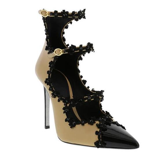 Little Black Flowers Cover Women Buckles Pumps Black Patent Leather Toe Ladies High Heels Sweet Style Female Dress Shoe слингобусы itzy ritzy pebble little black dress pebneck1000