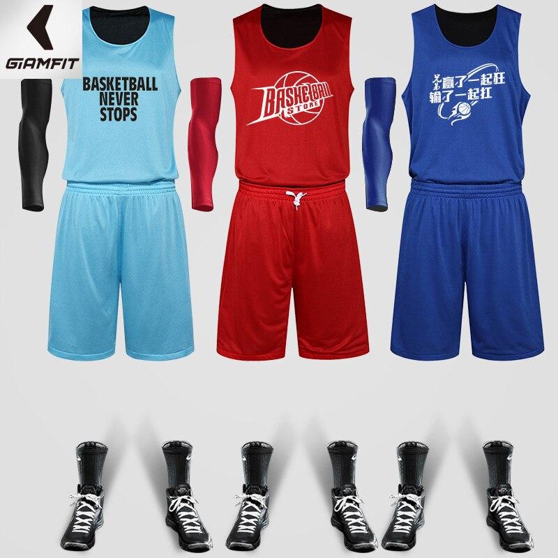 ᗗsend arm sleeve reversible basketball set custom logo number boy