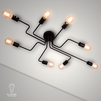 Industrial pendurado aranha lâmpada do teto iluminação moderna  ajustável loft luz para sala de estar loja