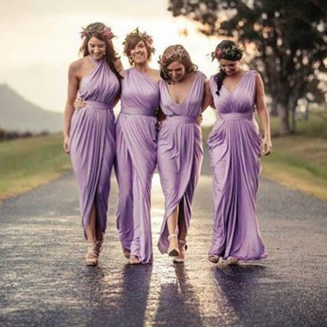 Purple Chiffon Long Bridesmaid Dresses 2016 A Line Ruffles Formal Gowns One Shoulder Robe Demoie D Honneur C40 In From Weddings