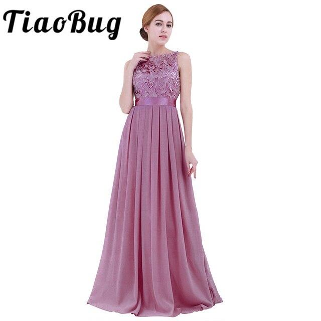 TiaoBug תחרה שושבינה שמלות ארוך 2017 חדש מעצב שיפון חוף גן מסיבת חתונת פורמליות Junior נשים גבירותיי טול שמלה
