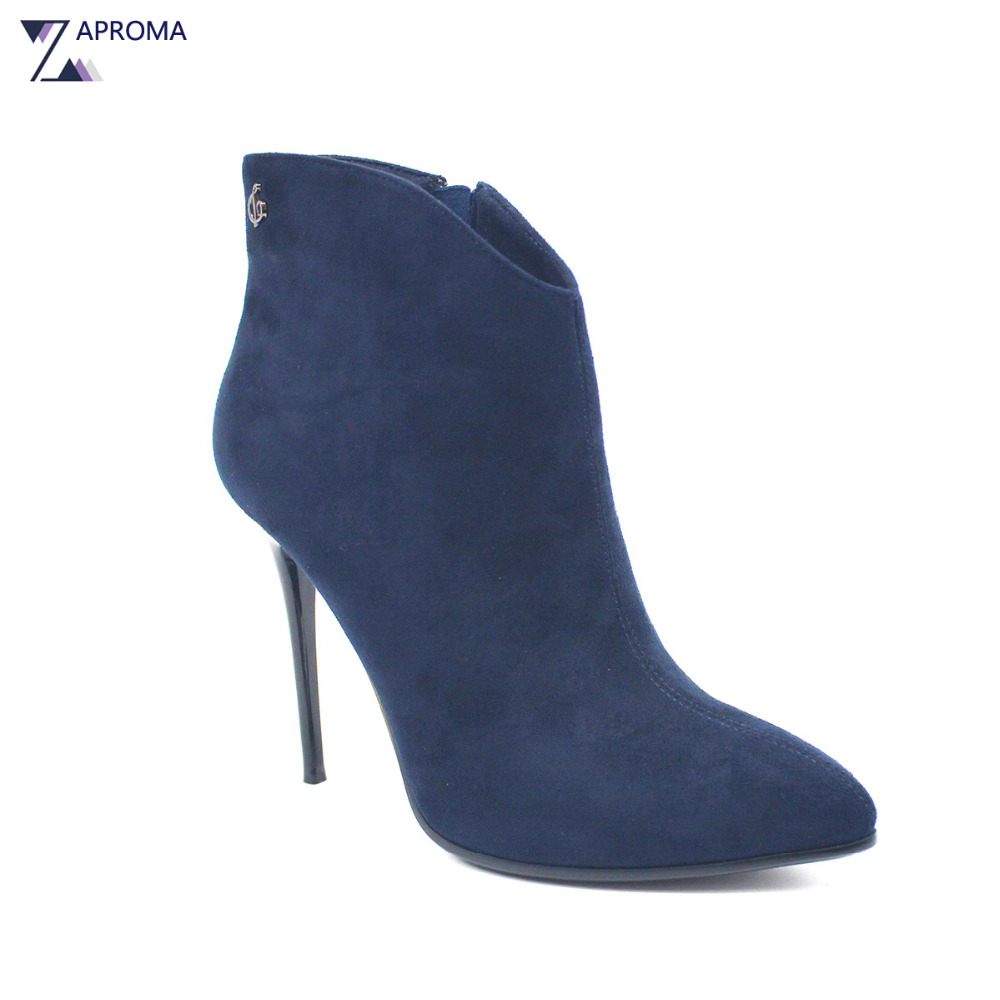 Navy Blue Suede Thin Heel Women Ankle Boots Fleece Metal Decoration Flock Booties Super High Heel Pointed Toe Autumn Winter Shoe crystal suede nude pink chunky heel ankle boots women round toe autumn winter super high heel booties rhinestone fleeces shoes