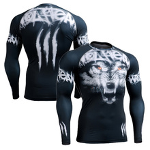 New In 2016 Men's Compression Shirt 3D Print Men Long Sleeves T-Shirt Base Skin Fitness Crossfit Bodybuilding Tops Shirts