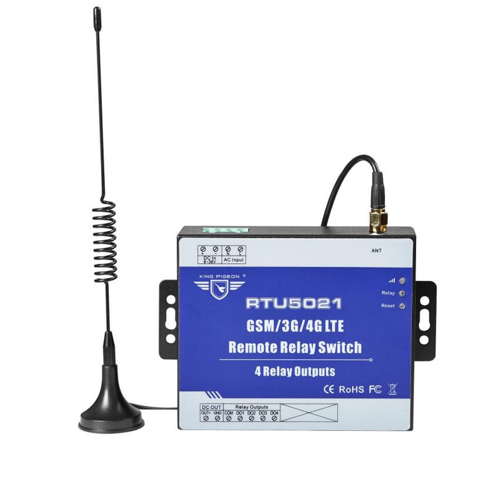 Commutateur de relais sans fil GSM 3G 4G télécommande SMS 4 sorties relais SMS APP minuterie réglage Web système d'alarme de passerelle IoT RTU5021
