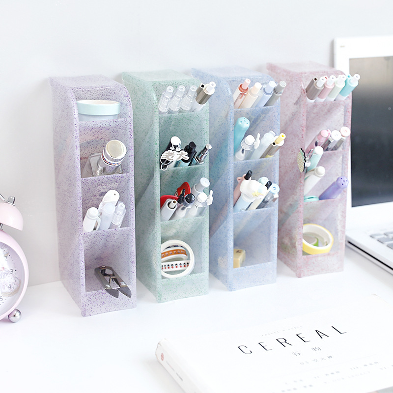 4 Grid Desktop Pen Holder Multi-functional Tassel Powder Storage Case Clear White Black Plastic Box Desk Pen Pencil Organizer