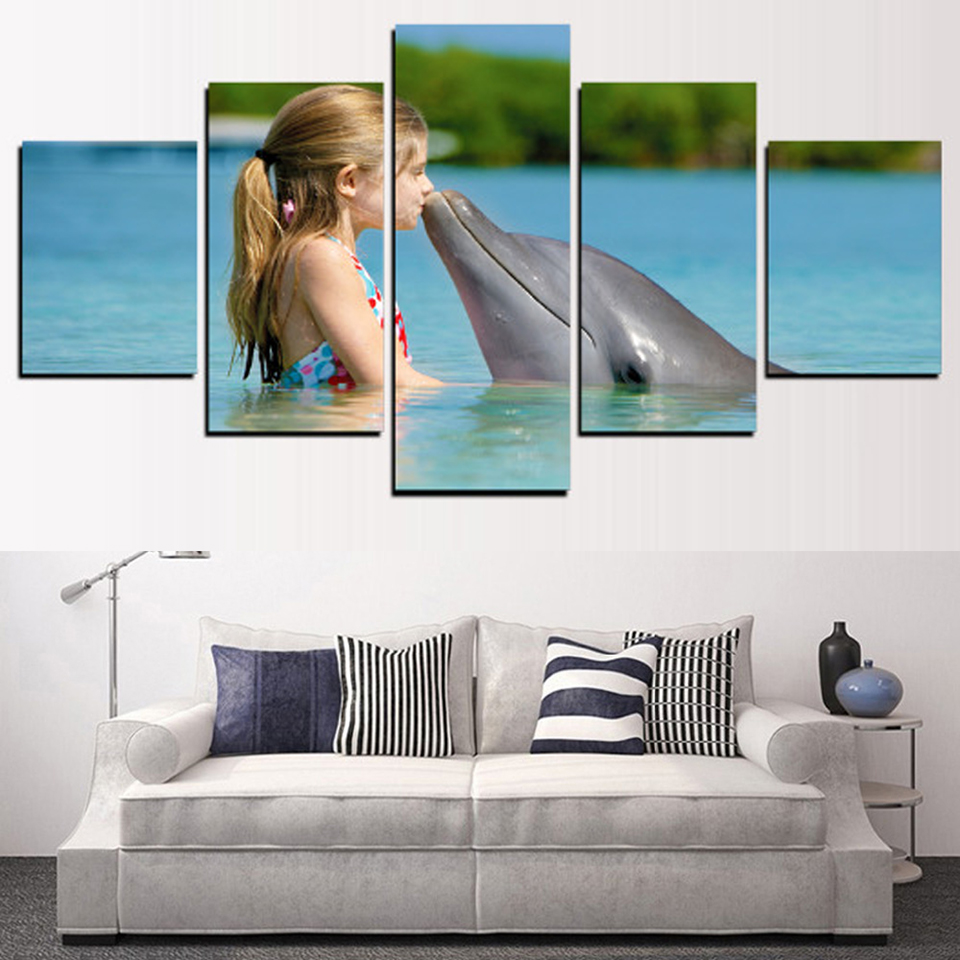 Living Room Wall Art Painting Modular Pictures Framework 5 Panel Small Girl And Dolphin Home Decor HD Printed Modern Canvas
