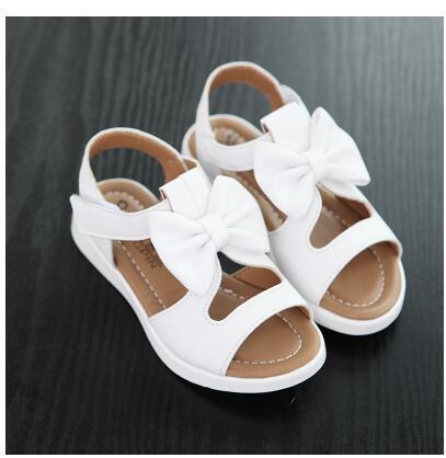 Сандалии для девочек Летняя обувь для девочек из натуральной кожи, с открытым носком, с цветами, белого, розового, красного цвета детская обувь широкий размер 21-36