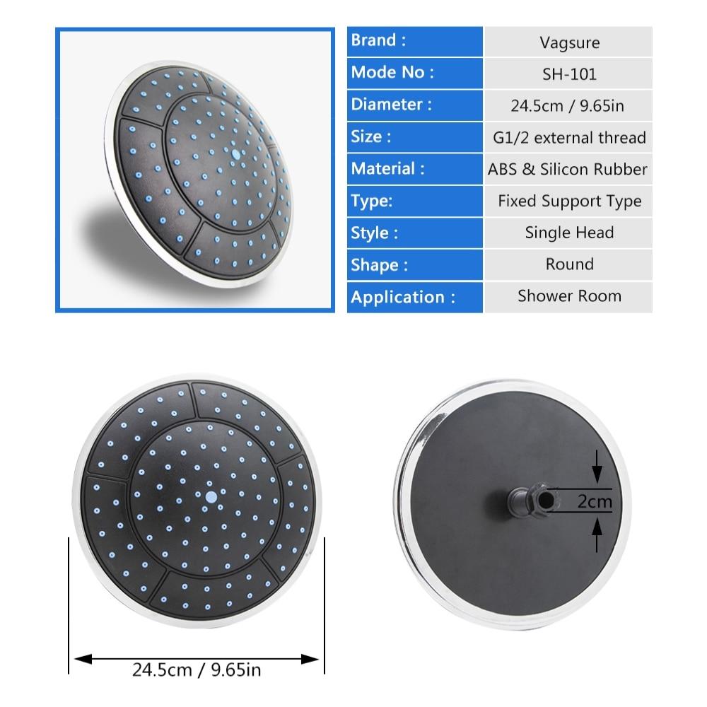 Vagsure 1Pc 25cm Plastic Round Shape Soft Silicon Rainfall Powered Shower Room