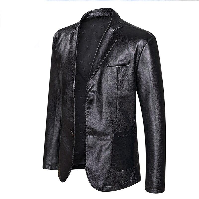 New Fashion Leather Jackets Men's Jacket Button Outwear Men's Coats 2020 Spring Autumn PU Jacket Coat Plus Size 5XL 6XL 7XL