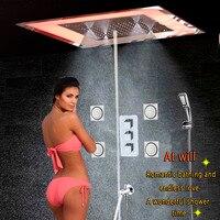 Роскошные светодиодный смеситель для душа и ванной массаж спа капсула настенный смеситель душевой потолок осадков туман пузырь душ Носик д