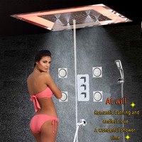 Luxo LEVOU misturador Do Chuveiro Do Banheiro Massagem Spa Jet Wall Mounted Bath Torneira Do Chuveiro de Chuva Teto Chuveiro Bolha de Névoa Bico da Chuva