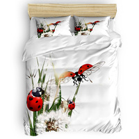 Dandelion And Ladybug 4 Pcs Comforter Cover Set Eve Of All Saint's Day Quilted Duvet Set Thanksgiving Day Beautiful Bed Sets
