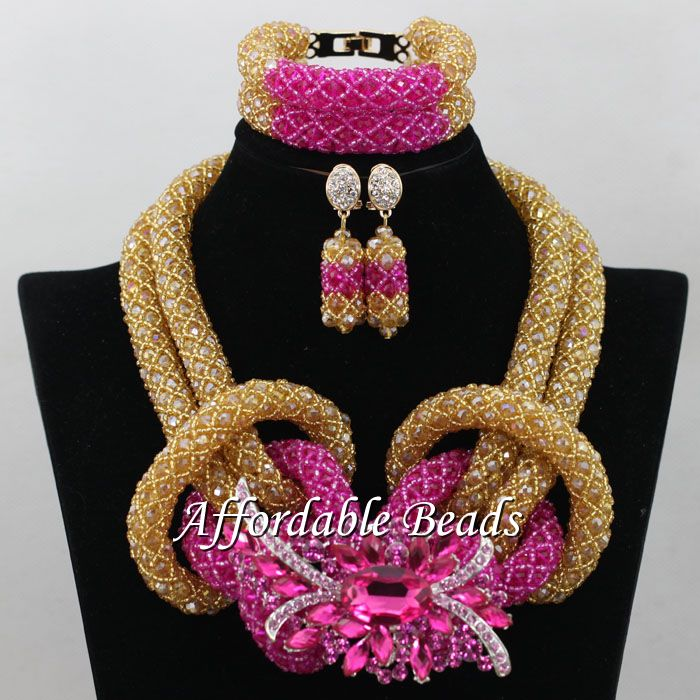 Champagne gold Wedding Bridal Jewelry Set Popular Nigerian Wedding Necklace Best Design New Item NCD097 champagne gold wedding bridal jewelry set popular nigerian wedding necklace best design new item ncd097