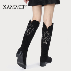 Image 2 - Womens Winter Shoes Knee High Boots Plus Big Size High Quality Faux Suede Brand Women Shoes Wool Women Winter Boots