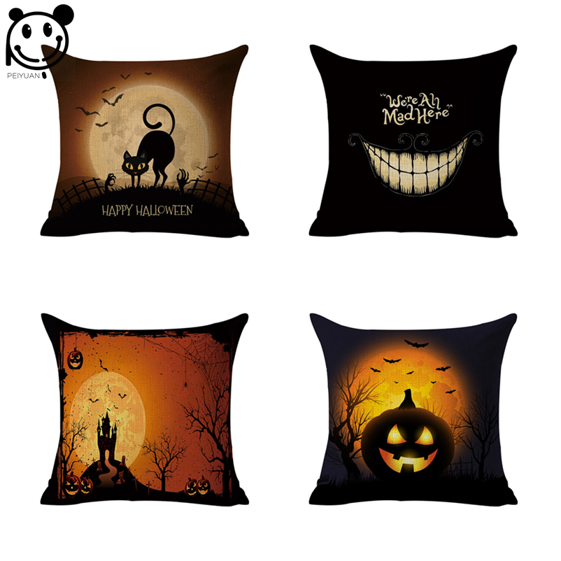 PEIYUAN Custom Halloween Pumpkin Cat Owl Black Linen Woven Printed Square Cushion Cover Pillow Case Throw Pillow Covers