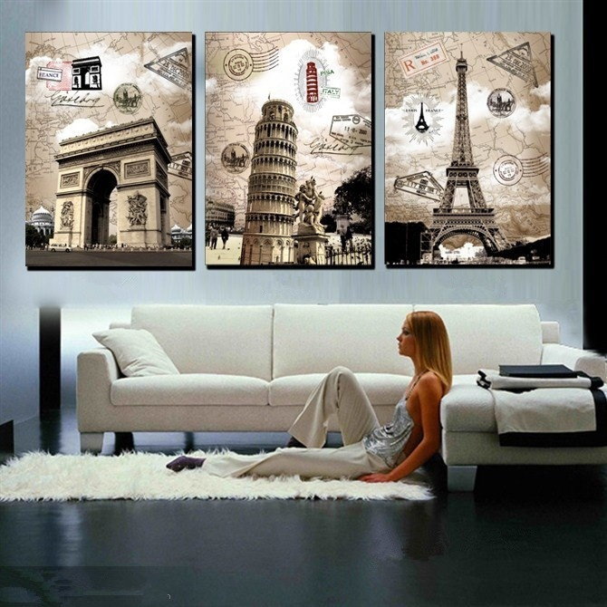 HD 3 Panel Europe Eiffel Tower Building Print Painting Vintage Wall Art Picture For Living Room Home Decor Gift