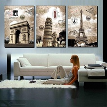 цена на HD 3 Panel Europe Eiffel Tower Building Print Painting Vintage Tower Wall Art Picture For Living Room Home Decor Wall Gift