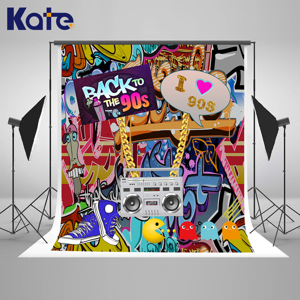 Kate 10ft Graffiti Wall Birthday Photo Background Back to 90S' Hip Pop Background For Photos With Custom Photoshoot Background kate photo background scenery