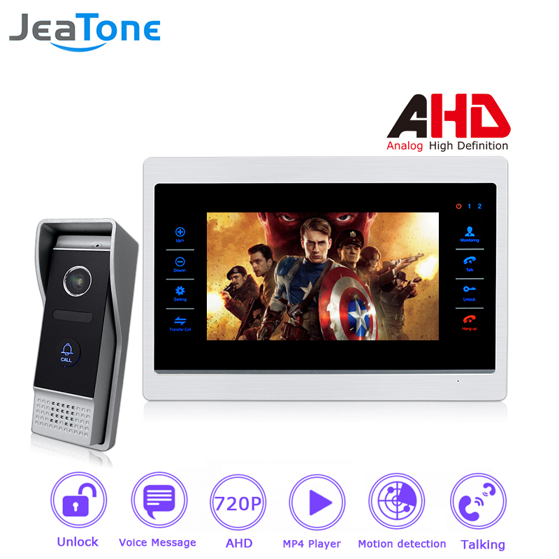 720P AHD 7 inch Video Door Phone Intercom Door Bell Door Speaker 4 Wired Hands-free Touch Button Monitor Motion Detection цена