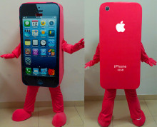 Hot sale red Mascot Costume Cell Phone Apple iPhone 5C Adult Size EMS Free shipping